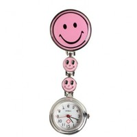 Vktech Smiley Face Nurse Table Pocket Watch with Clip Brooch Quartz Watches Pink:Amazon:Sports & Outdoors