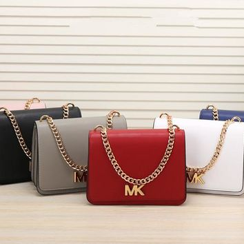 """Michael Kors"" Women Simple Fashion Letter Metal Chain Single Shoulder Messenger Bag MK Flip Small Square Bag"