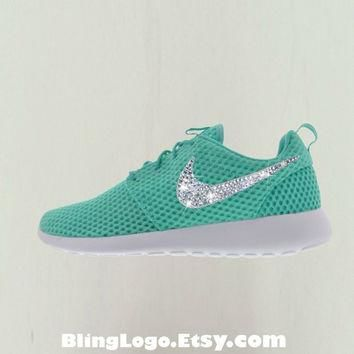 Nike Roshe Run Shoes With Swarovski Crysral Rhinestones - Blibg Nikes, Bling Shoes, Bl