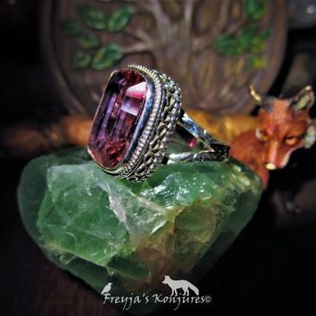 Ring of the Royal Court - Orange Violet Antique Vintage Color Change Amethyst Ring - Beauty, Bacchus, Neptune, Love, Royalty, Soothing