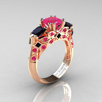Classic 14K Rose Gold Three Stone Princess Pink Sapphire Black Diamond Solitaire Engagement Ring R500-14KRGBDPS