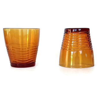 Duralex Glasses, Amber Mid Century Glassware, France, Set of 2