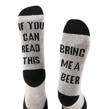 2017 Funny Warm Winter Spring Socks Unisex IF YOU CAN READ THIS BRING ME A BEER Letter Printed Fashion Socks Cotton Socks TY79