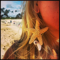 Orange Sugar Starfish Hoop Dangle Large Earring