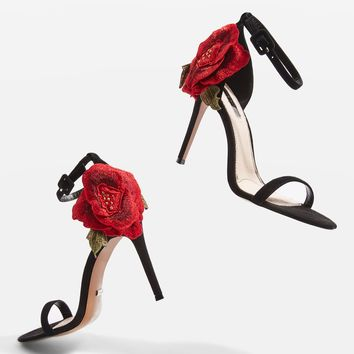 ROSEBUD Rose Applique Stiletto Sandals - Heels - Shoes