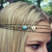 geometric turquoise chain head piece, chain headband, triangle headband, metal headband, unique headband