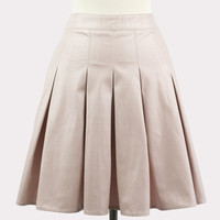 Faux Suede Pleated Skirt in Blush