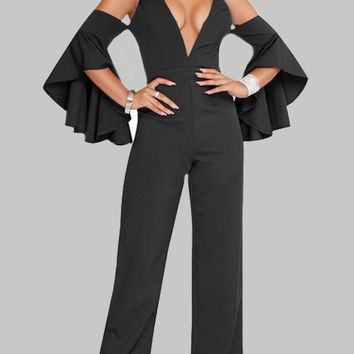 Black Ruffle Spaghetti Strap Backless Flare Sleeve High Waisted Wide Leg Long Jumpsuit
