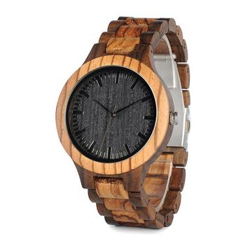 Round Bamboo Vintage Zebra Wood Case Watch