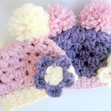 Baby Hat Pink Purple Baby Hat with Pompoms and Flowers Crochet Baby Girl Hat Newborn Photo Prop