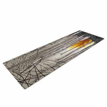 "Sam Posnick ""Smokey Forest Fire"" Brown Orange Yoga Mat"