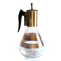 Mid Century Coffee Carafe, Glass with Gold Bands, Bakelite Handle, Gold Tone Metal Lid, Retro Kitchen, Coffee Pot