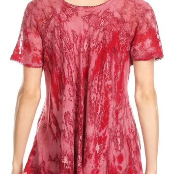 Sakkas Sara Womens Flowy Peasant Short Sleeve Top Blouse Tie-dye Batik Embroidery