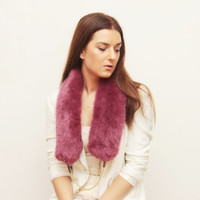 BURGUNDY / Burgundy pink faux fur with chain - Ready to Ship - OOAK