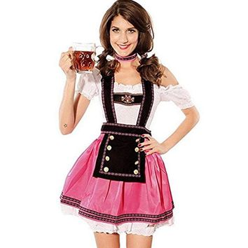 TITIVATE Fashion Oktoberfest Beer Girl Costume Cosplay Maid Wench Germany Bavarian Short Sleeve Fancy Dress Dirndl For Women