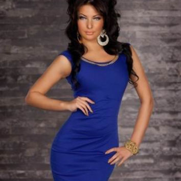 Blue Sheer Sleeveless Bodycon Mini Dress