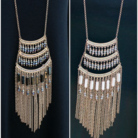 Thunderstruck Gold Draping Beaded Chandelier Necklace
