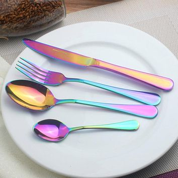 Multi-Colors Cutlery Set Stainless Steel Dinnerware Set Fork Scoops Silverware Set Home Tableware Set Dessert Fork