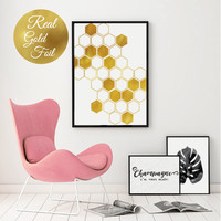 Gold Honeycomb, Gold Foil, Gold Home Decor, Gold Geometric, Gold Wall Prints, Golden Decorations, Hexagon Art, Honeycomb Prints, Wall Art.