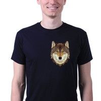 Geometric Abstract Wolf Mask Pocket Head Hipster Animal Print T-shirt