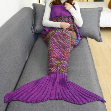 rose red handmade knitted sofa bedding mermaid tail blanket home gift  number 1