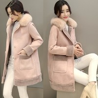 Faux lamb fur coat women thickening warm faux suede fur leather overcoat with fake fox fur collar 2017 new autumn