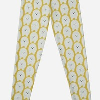 'Cute Fluffy White Cartoon Dog ' Leggings by Manitarka