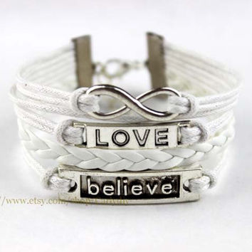 Infinite love believe charm bracelet - bridesmaid gifts - Christmas gift friendship