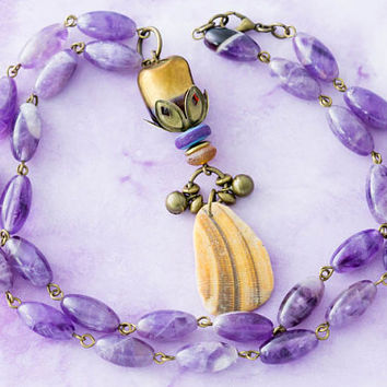 Amethyst Outer Banks North Carolina Natural Sea Shell Necklace with Bell Charms and Gold Dipped Bead