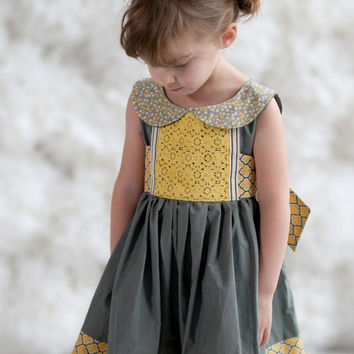 Limited Edition Girls Grey and Yellow Peter Pan Collar Party Dress- Mary Sunshine Sizes 12/18 through 14
