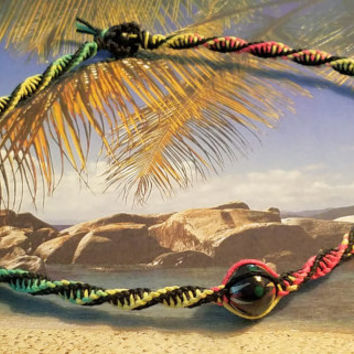 Rasta Double Twist Focal Wood Bead Hemp Necklace