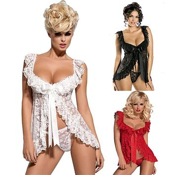 Nightwear White Black Red Plus Size Lace S M L XL 2XL 3XL 4XL 5XL 6XL Sexy Lingerie Babydoll Front Open Nighty Chemise Sleepwear