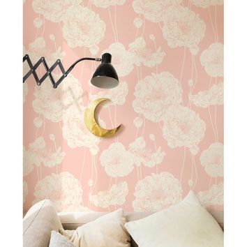 "Mullen 24"" W Peony Peel and Stick Wallpaper Panel"
