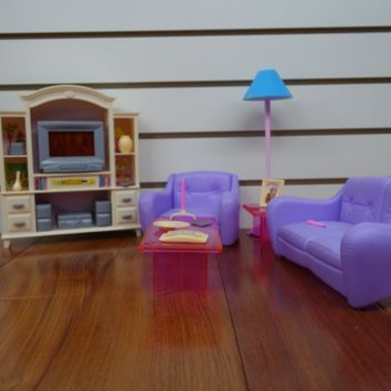 My Fancy Life Barbie Size Dollhouse Furniture, Living Room with TV/DVD Set and S