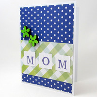 Mother's Day Card - Mom Card - Royal Blue and Green - Blank Card - Polka Dots and Plaid - Green Flowers