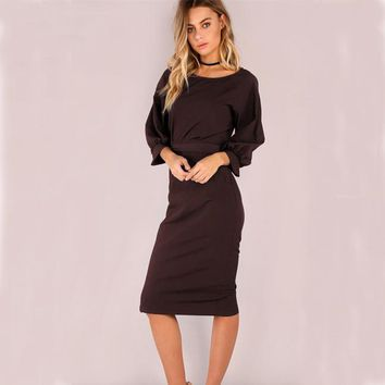 Fall Dresses Ukraine Women Office Autumn Vintage Casual Dress Black Elegant Retro Long Sleeve Party Dresses