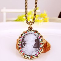 Vintage Antique Brass Queen Pendant Long Chain Necklace at Online Cheap Vintage Jewelry Store Gofavor
