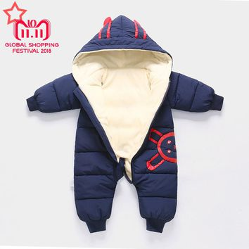 New Overalls Children's Winter Jumpsuit for A Boy Girls Winter Coveralls Thick Cotton Snowsuit Baby Winter Clothes Warm Snowsuit