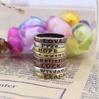 niceeshop(TM) Retro Charms Lettering Wishing Rings (Copper,Silver,Gold,Set of 8)