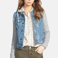 Junior Women's Thread & Supply Hooded Denim Jacket with Fleece Sleeves
