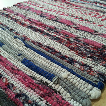 Rag Rug Welcome Mat, Bathroom Rug, Small Kitchen Rugs, Boho Chic Hippie Mat, Yoga Mat, Chindi Style, Scandinavian Cotton Rug