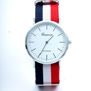 Gift Good Price Awesome Trendy Designer's New Arrival Great Deal Stripes Canvas Stylish Ladies Watch [11649621071]
