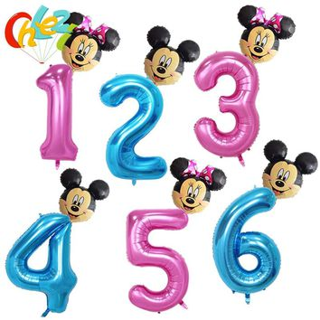 40 inch large size Pink Blue Number+Minnie Mickey Mouse helium Balloons boy girl kids Birthday Party Wedding Digit 1 2 3 4 decor