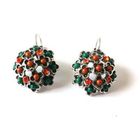Beaded Earrings, Saint Patricks Day, Green, Orange, Beaded, Rhinestones, Round