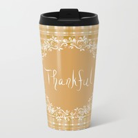 Autumn Weave Thankful Metal Travel Mug by Lisa Argyropoulos