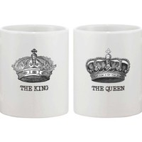 King and Queen Crown Matching Couple Coffee Mugs