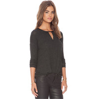 Black Ruched Long Sleeve T-Shirt