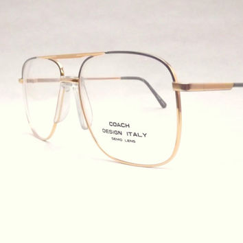 Mens Eyeglasses, Boxy Gold Metal Aviator Eyewear, Vintage 80s, Gold and Black (or Gray) Fixed Bridge Frames, Never Worn