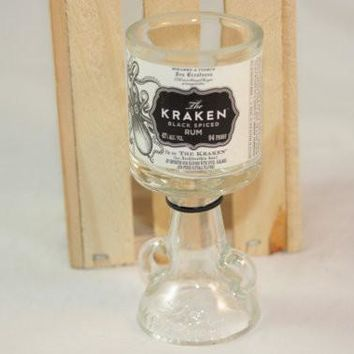 Shot Glass Upcycled from Kraken Mini Liquor Bottle, Goblet Shot Glass from Recycled Bottle