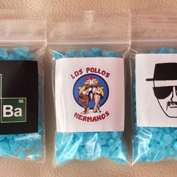 5 Bags of Blue Rock Candy Meth WALTER WHITE Party Favor Costume Jesse Pinkman Heisenberg Breaking Bad Blue Magic Blue Sky Halloween costume